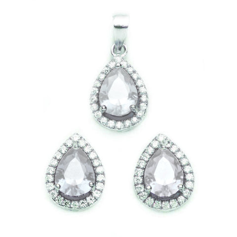 Halo Jewelry Set Halo Pendant Halo Stud Earrings Matching Set Teardrop Pear Diamond CZ Round Clear CZ Solid 925 Sterling Silver - Blue Apple Jewelry