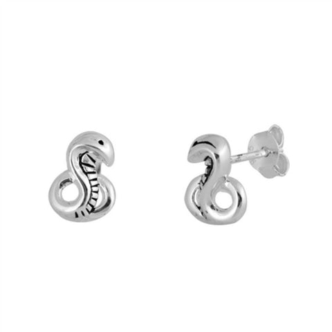 9mm Cute Small Tiny Snake Stud Post Earrings Solid 925 Sterling Silver Snake Earrings Excellent Gift For Children Kids Snake Jewelry - Blue Apple Jewelry