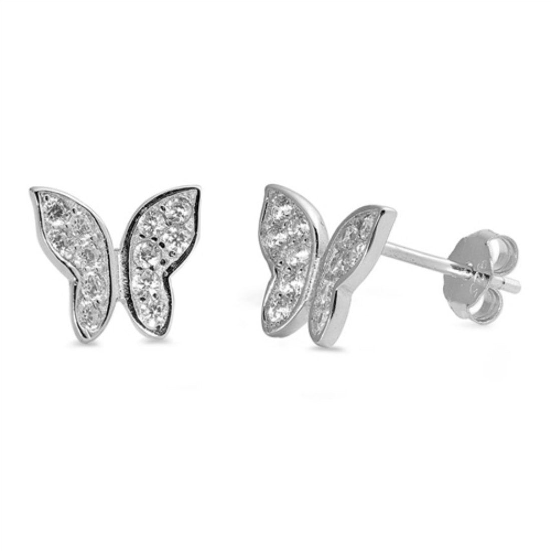 Butterfly Earring Solid 925 Stelring Silver Round Pave Clear CZ Cute Butterfly Stud Post Earring Gift - Blue Apple Jewelry