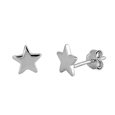 7mm Cute Small Tiny Star Shape Stud Post Earrings Solid 925 Sterling Silver Star Earrings Gift For Children Kids Star  Jewelry - Blue Apple Jewelry