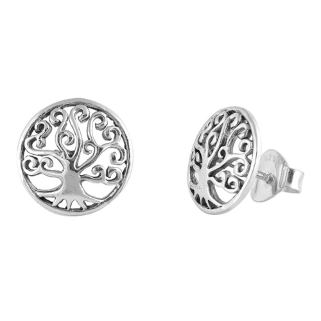 11mm Tree of Life Earrings Tree of Wisdom Solid 925 Sterling Silver Shiny lovely tree of life stud earrings Jewelry Jewelry Filigree Swirl - Blue Apple Jewelry
