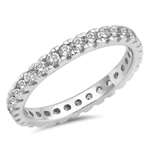2mm Full Eternity Stackable Band for Ring Round Cubic Zirconia 925 Sterling Silver 5-10 - Blue Apple Jewelry