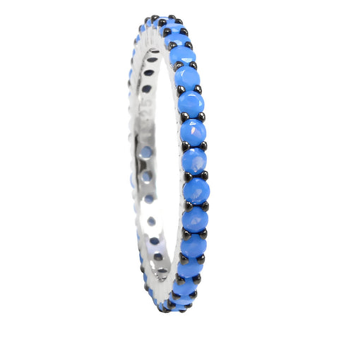 2mm Full Eternity Stackable Band Wedding Engagement Ring Black Gold PL 925 Sterling Silver Round Nano Blue Turquoise Two Tone - Blue Apple Jewelry
