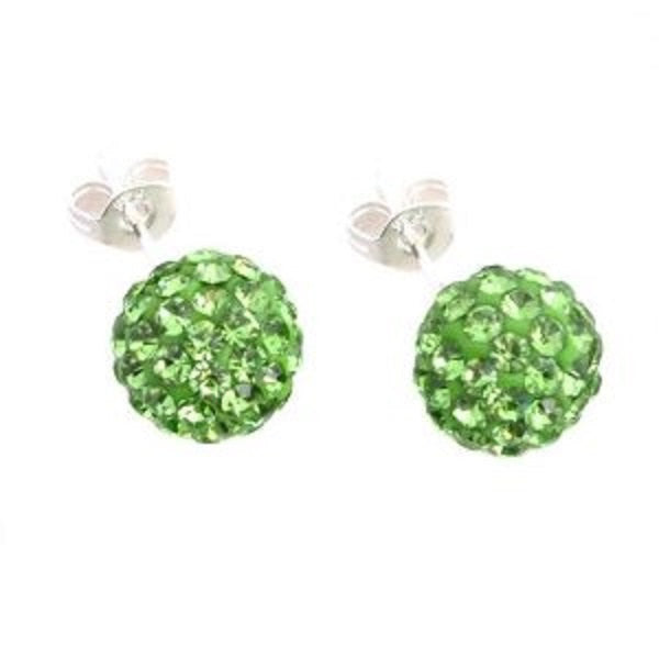Pair of 6mm 8mm Crystal stones Bead Pave Disco Ball Rhinestone Green Beads With 925 Silver Earrings Studs Post Earring Lime Green