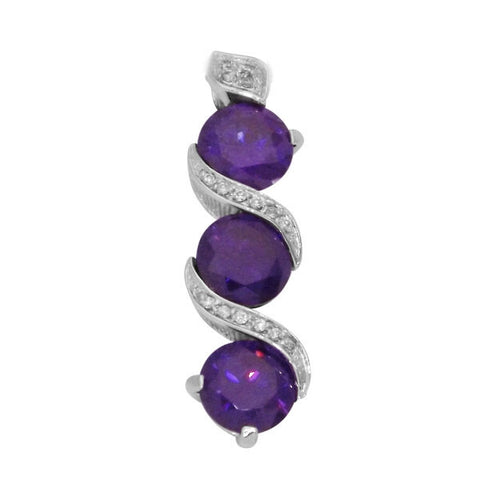 "1.5"" 925 Sterling Silver Triple Infinity Amethyst Pendant 11.00 TCW Round Purple & Clear Russian CZ  Drop Style Pave Set"