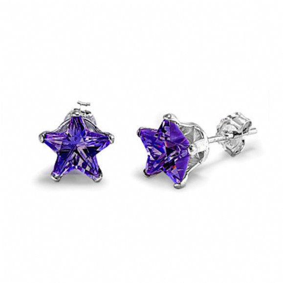 4mm 5mm 6mm 7mm 8mm Solid 925 Sterling Silver Purple Amethyst Star Shape Stud Post Earrings February Birthstone Gift Star Jewelry - Blue Apple Jewelry
