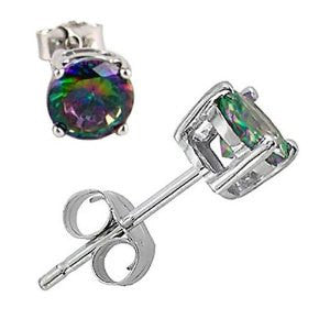 5MM Round CZ Mystic Rainbow Topaz 925 Sterling Silver Stud Earrings Prong Basket Set - Blue Apple Jewelry