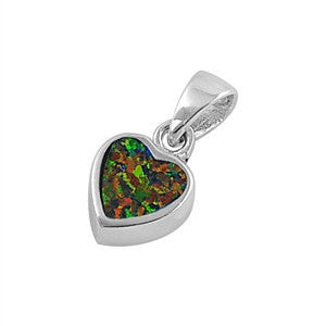 "925 Sterling Silver Black Lab Opal Cute Heart 0.6"" Pendant Charm for Necklace 15MM 1.8 Grams - Blue Apple Jewelry"