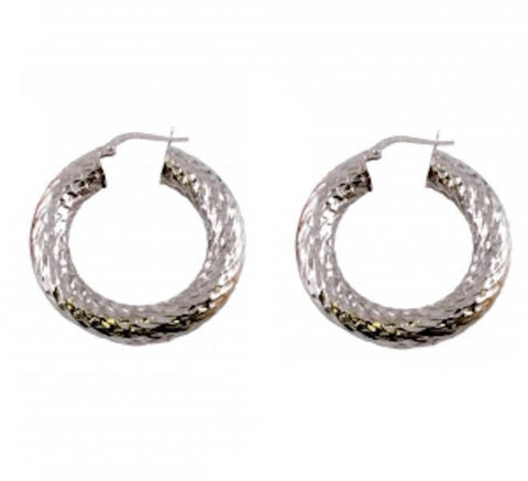 "0.8"" 925 Sterling Silver Hammered Finish Hoop Ladies Earrings 23MM 6MM Thickness - Blue Apple Jewelry"