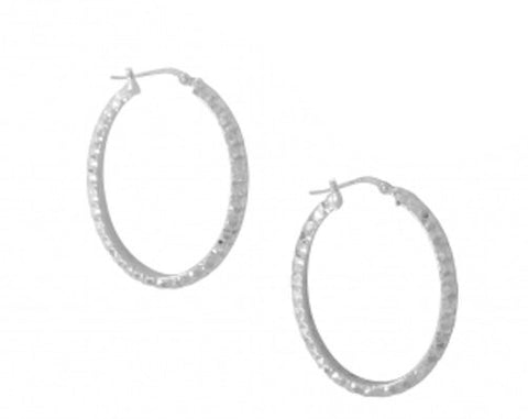 "1"" Oval Hammered 925 Sterling Silver Hoop Rhodium Earrings 100% Nickel Free - Blue Apple Jewelry"