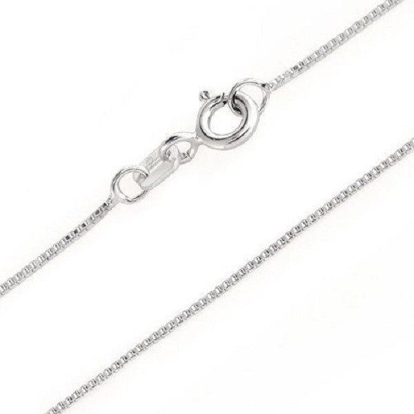 925 Sterling Silver Italian Box Chain Necklace For Pendant 18 20 22 24 Inches - Blue Apple Jewelry