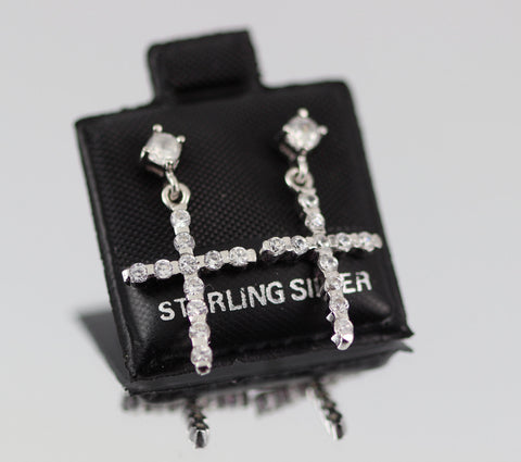 "0.8"" Long 925 Sterling Silver Cross Stud Post Drop Earrings Clear Round Russian CZ Pave - Blue Apple Jewelry"