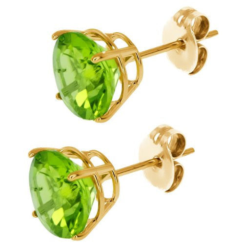 3mm 4mm 5mm 6mm 7mm 8mm 9mm Peridot Green Stud Post Earring 14k Yellow Gold over Solid 925 Sterling Silver Basket Set Casting Stud Earring - Blue Apple Jewelry