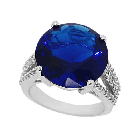 13 Carat Round Blue Sapphire 925 Sterling Cocktail Solitaire Split Shank Diamond Iced Out Ring - Blue Apple Jewelry