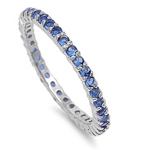 2MM Stackable Band Solid 925 Sterling Silver Deep Blue Sapphire CZ Scallop Full Eternity Band Wedding Engagement Anniversary September birth - Blue Apple Jewelry