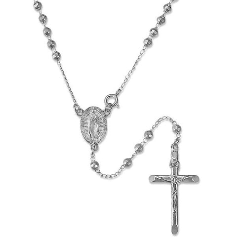 "24"" Rosary Necklace 925 Sterling Silver Heavily Layered 59 4MM Beads Jesus Crucified Cross Virgin Mary 12 Grams Religious Gift Silver Plated - Blue Apple Jewelry"