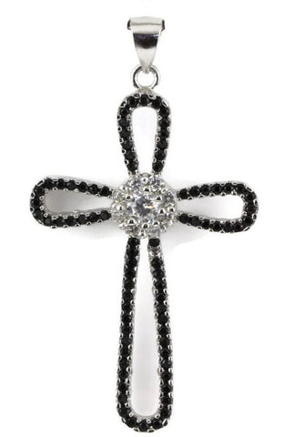 "1.5"" Black and White Clear Diamond Russian Iced Out CZ Micro Pave 925 Sterling Silver Pendant Charm Cross"