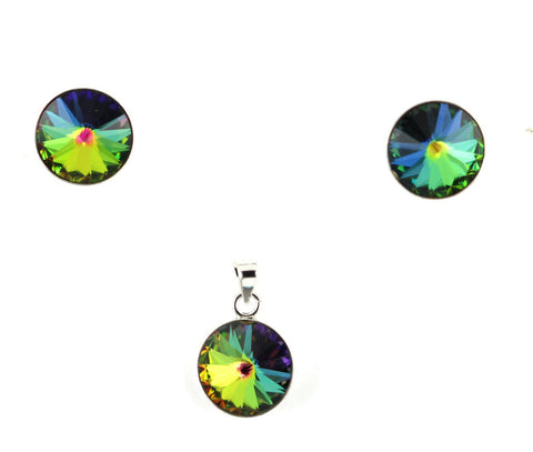 11MM Round Rainbow Glass Stud Post Earrings Pendant Charm Matching Set 925 Sterling Silver Fashion Jewelry Matching Set Rainbow Mystic Topaz