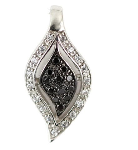 "1"" Black and White TearDrop Fashion Pendant Round Black Clear Diamond Russian Ice On Fire CZ 925 Sterling Silver Rhodium Plated For - Blue Apple Jewelry"