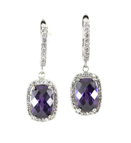 "13 Carat Faceted Radiant Cut Amethyst 1.5"" Long Drop Dangle Fashion Earrings Round Russian Iced Out CZ Brides Gift Wedding Earrings - Blue Apple Jewelry"