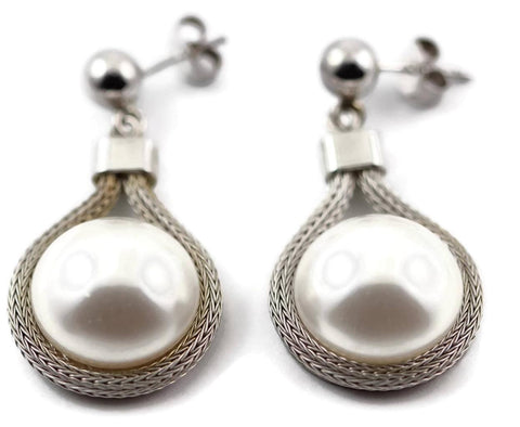 "1.5"" 925 Sterling Silver 16MM Lab pearl Drop Dangle Fashion Ball Long Bridesmaid Earrings Gift"