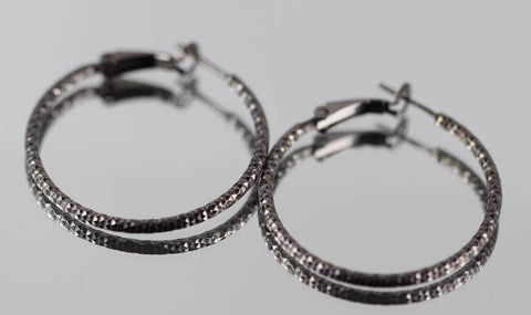 "32MM Black Gold over 925 Sterling Silver Hammered Finish Hoop Earrings 1.2"" Italian Style Designer Hoop Fashion Earrings - Blue Apple Jewelry"