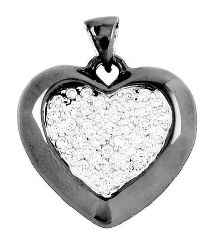 1.00 Carat Round Russian Ice Diamond CZ 14K Black Gold 925 Sterling Silver Heart Shape Pendant For Necklace Charm Love Gift Valentine Gift - Blue Apple Jewelry