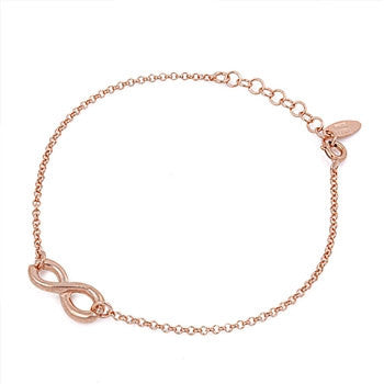 "Infinity Bracelet Fashion Rose Gold Over 925 Sterling Silver 8"" Infinity Charm Love Ladies Bracelet Excellent Gift - Blue Apple Jewelry"