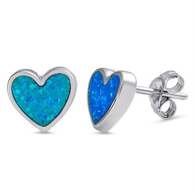 Fashion Stunning Rhodium over 925 Sterling Silver 8MM Heart Shape Blue Australian Lab Opal Stud Post Earrings Love Valentines Gift - Blue Apple Jewelry