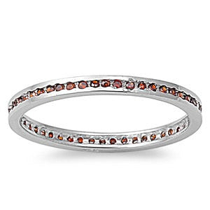 2mm Sterling Silver Channel Setting Round Deep Red Garnet CZ Stackable Eternity Wedding Engagement Anniversary Band Ring Size 2-9 - Blue Apple Jewelry