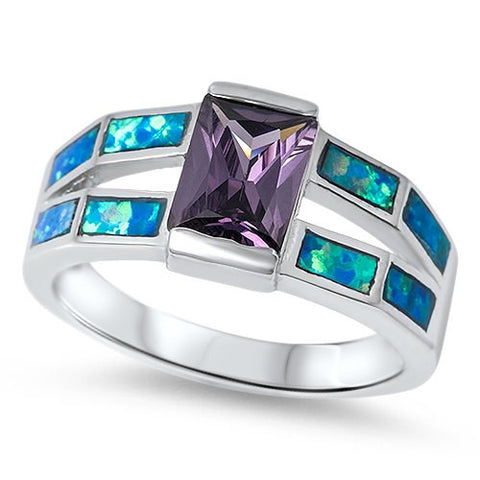 2.54 Carat Emerald Cut Purple Synthetic Amethyst Blue Australian Lab Opal Platinum over 925 Sterling Silver Wedding Engagement Ring - Blue Apple Jewelry