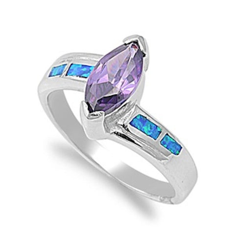 1.00 Carat Marquise Cut Synthetic Amethyst Blue Lab Australian Opal 925 Sterling Silver Wedding Engagement Ladies Solitaire Ring - Blue Apple Jewelry