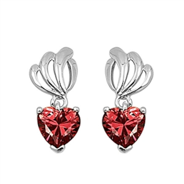 Cute Deep Red Garnet Heart Shape Stone 925 Sterling Silver Drop Dangle Earrings Deep Red Rhinestone Crystal Long Earrings Gift - Blue Apple Jewelry