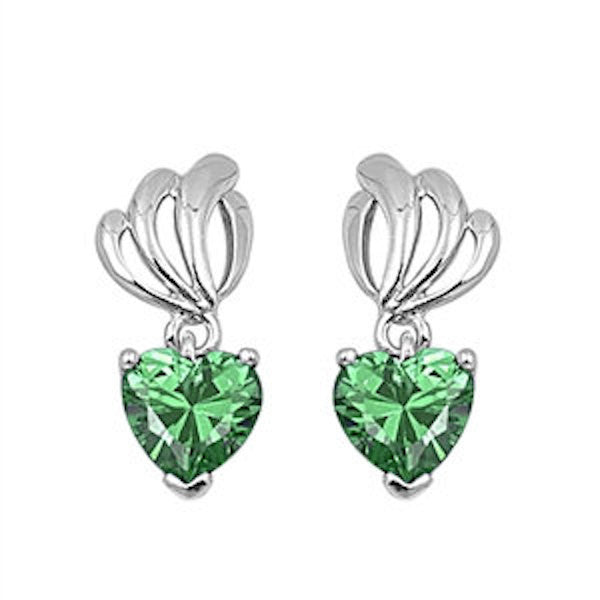 Cute Emerald Green Heart Shape Stone 925 Sterling Silver Ladies Drop Dangle Earrings Green Rhinestone Swarovski Crystal Long Earrings Gift - Blue Apple Jewelry