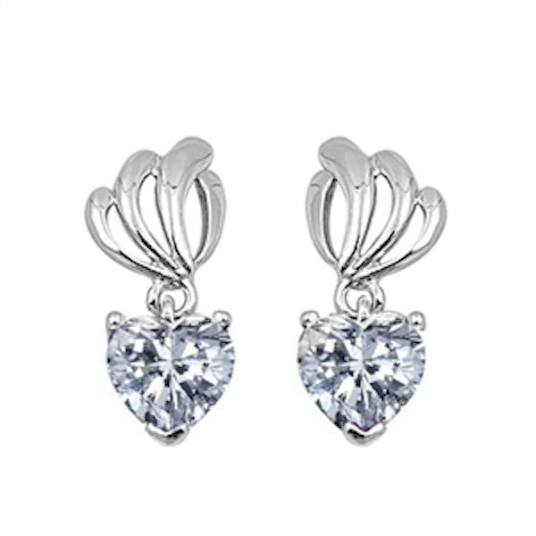 Cute Russian Ice Diamond CZ Heart Shape Stone 925 Sterling Silver Drop Dangle Earrings Clear Rhinestone Swarovski Crystal Long Earrings Gift - Blue Apple Jewelry