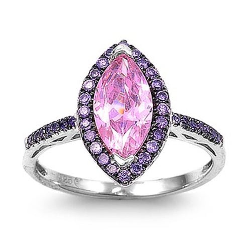 2.50 Carat Marquise Cut Pink Ice Swarovski Crystal Lavender Light Amethyst 925 Sterling Silver Cocktail Halo Accent Ring Valentines Gift - Blue Apple Jewelry