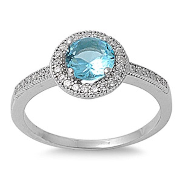 925 Sterling Silver Halo Diamond Accent Dazzling Wedding Engagement Ring 1.00 Carat Round Swiss Blue Topaz Russian Ice Diamond CZ - Blue Apple Jewelry