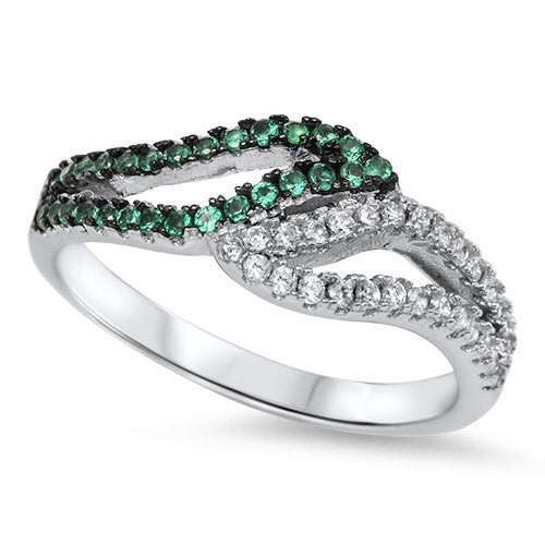 Bypass Swirl 925 Sterling Silver Round Emerald Green Russian CZ Half Channel Hugging Wedding Engagement Anniversary Band Ring Half Eternity - Blue Apple Jewelry