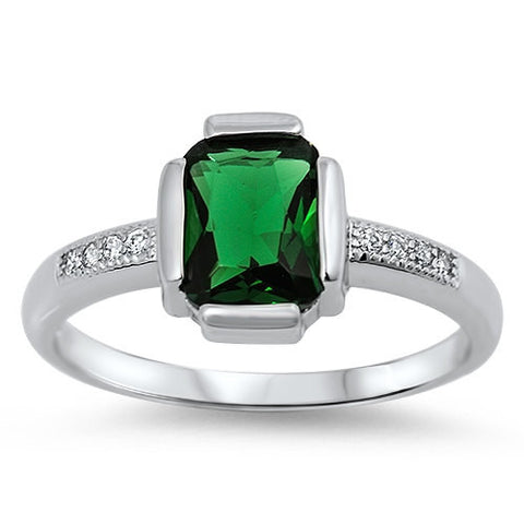1.24 Carat Emerald Cut Emerald Green Round Russian Ice Diamond CZ 925 Sterling Silver Wedding Engagement Solitaire Accent Ring Love Gift - Blue Apple Jewelry