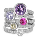 Round Amethyst Lavender Ruby Fancy Yellow White Topaz Solid 925 Sterling Silver Multicolor Five Stackable Ring Dazzling