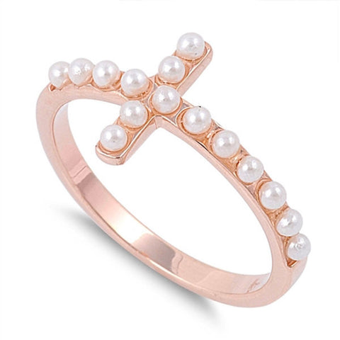 New Style Sideways Cross Ring 14K Rose Pink Gold Solid 925 Sterling Silver Round White Pearl Sideways Cross Ring Religious Ring - Blue Apple Jewelry