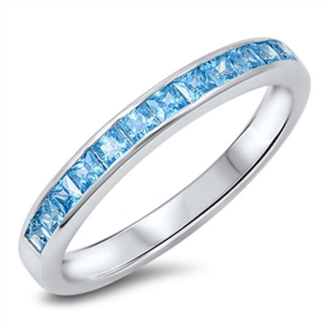 3MM 925 Sterling Silver Wedding Engagement Anniversary Half Eternity Channel Setting Princess Cut Blue Aquamarine CZ Band Ring Love Gift - Blue Apple Jewelry