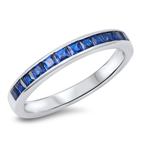 3MM 925 Sterling Silver Wedding Engagement Anniversary Half Eternity Channel Setting Princess Cut Royal Blue Sapphire CZ Band Ring Love Gift - Blue Apple Jewelry
