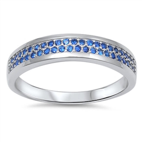 5MM Stackable Band Solid 925 Sterling Silver Double Row Round Pave Royal Blue Sapphire Ladies Wedding Engagement Anniversary Ring Size 5-10 - Blue Apple Jewelry