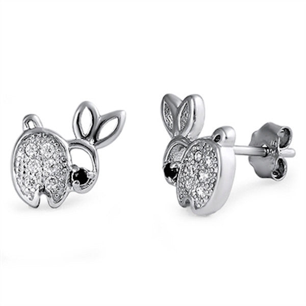 Cute Easter Rabbit Stud Post Earring Solid 925 Sterling Silver White Topaz CZ Black Diamond CZ Eye Rabbit Stud Babies Children Fashion Gift - Blue Apple Jewelry