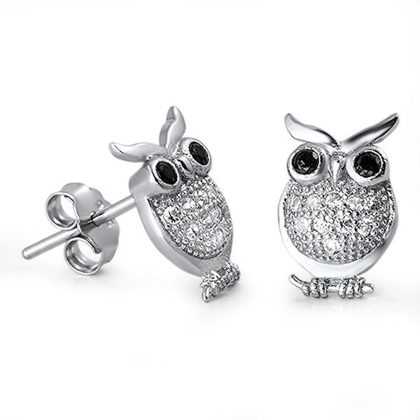 Owl Stud Post Earring Solid Sterling Silver Brilliant Sparking White Sapphire Diamond CZ Black Eye Owl Jewelry Good Luck Fashion Gift - Blue Apple Jewelry