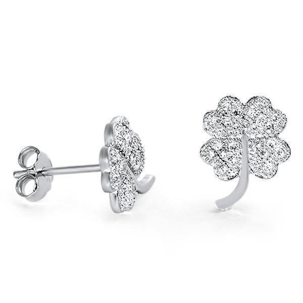 bf2f3a5c9 Four Leaf Clover Stud Post Earring Solid 925 Sterling Silver Round  Sparkling Brilliant Russian Diamond CZ