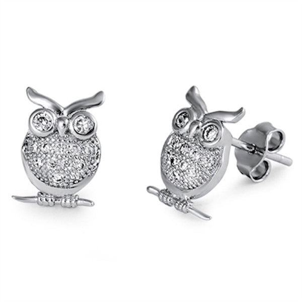 Owl Stud Earring Solid 925 Sterling Silver Round Pave Russian Ice Clear White Diamond CZ Owl Shape Stud Earring Owl Jewelry Cute Gift - Blue Apple Jewelry