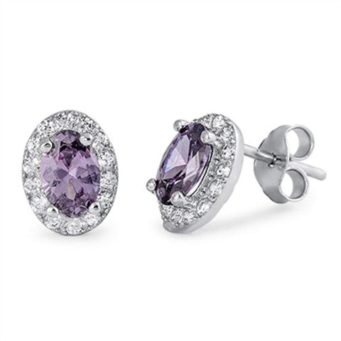 Beautiful 1.20 CT Oval Cut Purple Amethyst Round Clear White Russian Diamond CZ Halo Stud Post Earring 925 Sterling Silver Bridesmaid Gift - Blue Apple Jewelry