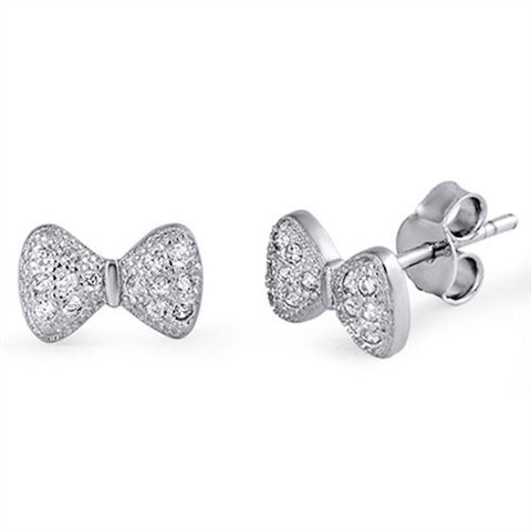 Cute Ribbon Bow Stud Earring Solid 925 Sterling Silver Bling Pave Sparkling Lab Created White sapphire Bow Jewelry Valentines Gift - Blue Apple Jewelry